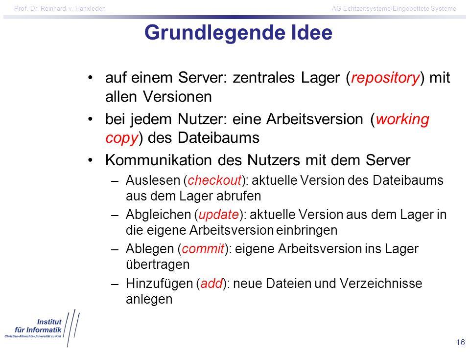 16 Prof. Dr. Reinhard v. Hanxleden AG Echtzeitsysteme/Eingebettete Systeme Grundlegende Idee auf einem Server: zentrales Lager (repository) mit allen