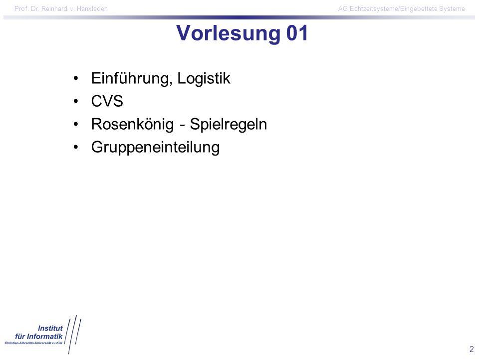 2 Prof. Dr. Reinhard v. Hanxleden AG Echtzeitsysteme/Eingebettete Systeme Vorlesung 01 Einführung, Logistik CVS Rosenkönig - Spielregeln Gruppeneintei