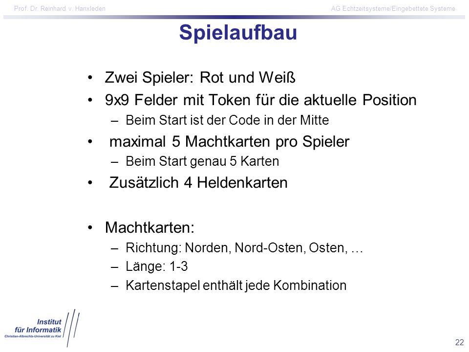 22 Prof. Dr. Reinhard v. Hanxleden AG Echtzeitsysteme/Eingebettete Systeme Spielaufbau Zwei Spieler: Rot und Weiß 9x9 Felder mit Token für die aktuell