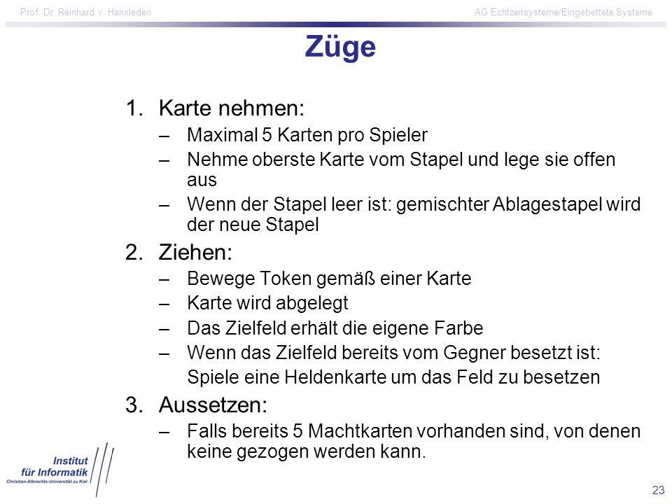 23 Prof. Dr. Reinhard v. Hanxleden AG Echtzeitsysteme/Eingebettete Systeme Züge 1.Karte nehmen: –Maximal 5 Karten pro Spieler –Nehme oberste Karte vom