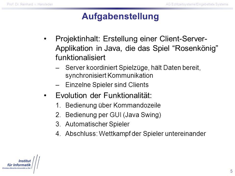 5 Prof. Dr. Reinhard v. Hanxleden AG Echtzeitsysteme/Eingebettete Systeme Aufgabenstellung Projektinhalt: Erstellung einer Client-Server- Applikation