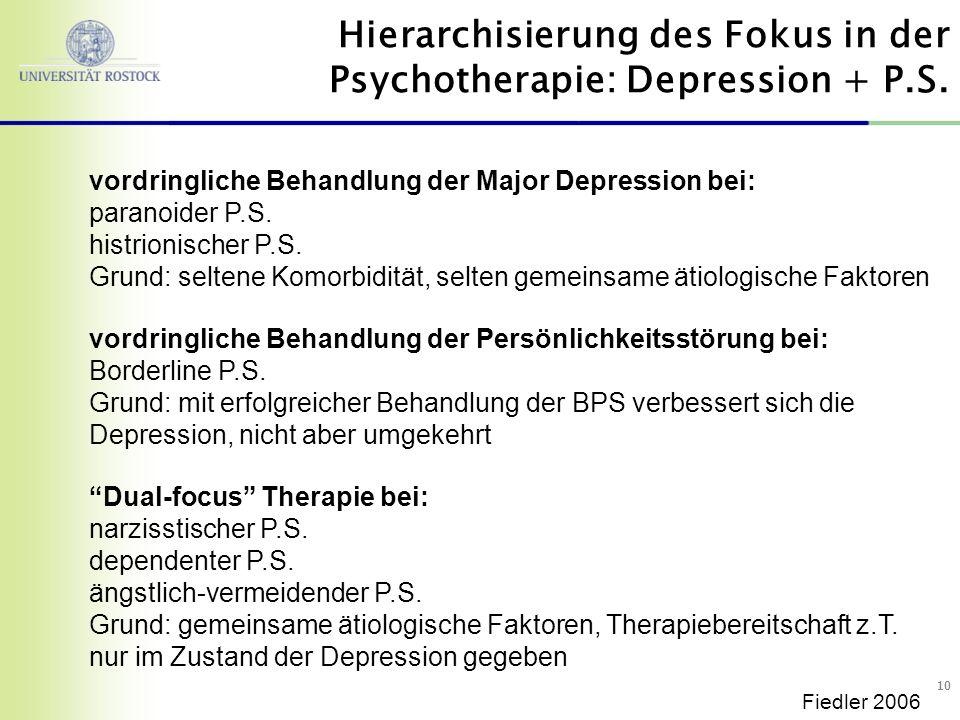 10 vordringliche Behandlung der Major Depression bei: paranoider P.S. histrionischer P.S. Grund: seltene Komorbidität, selten gemeinsame ätiologische