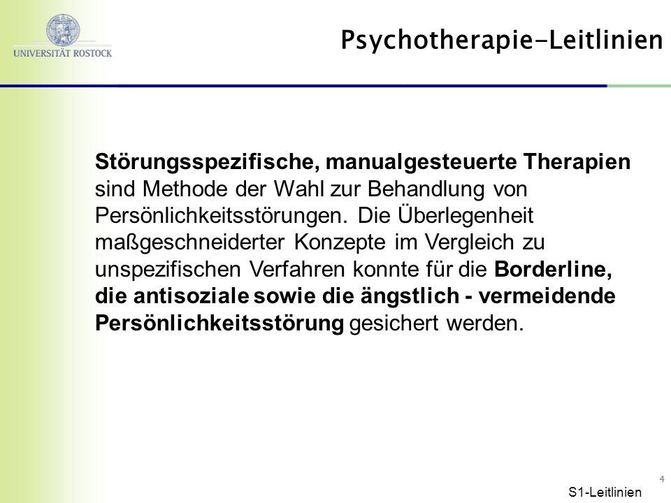 55 Probleme in der Lebensgestaltung Störungen des emotionalen Erlebens Störungen der Verhaltenskontrolle Gefährdung der Therapie Suizidalität, Fremdgefährdung S1-Leitlinien (bes.