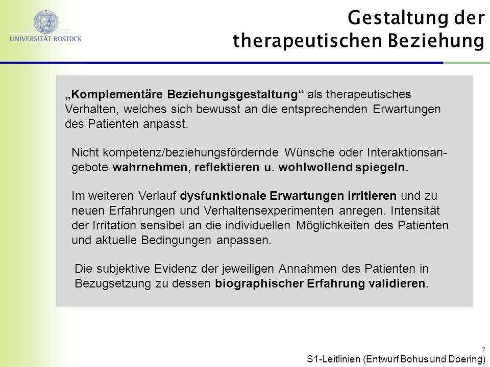 77 Komplementäre Beziehungsgestaltung als therapeutisches Verhalten, welches sich bewusst an die entsprechenden Erwartungen des Patienten anpasst.