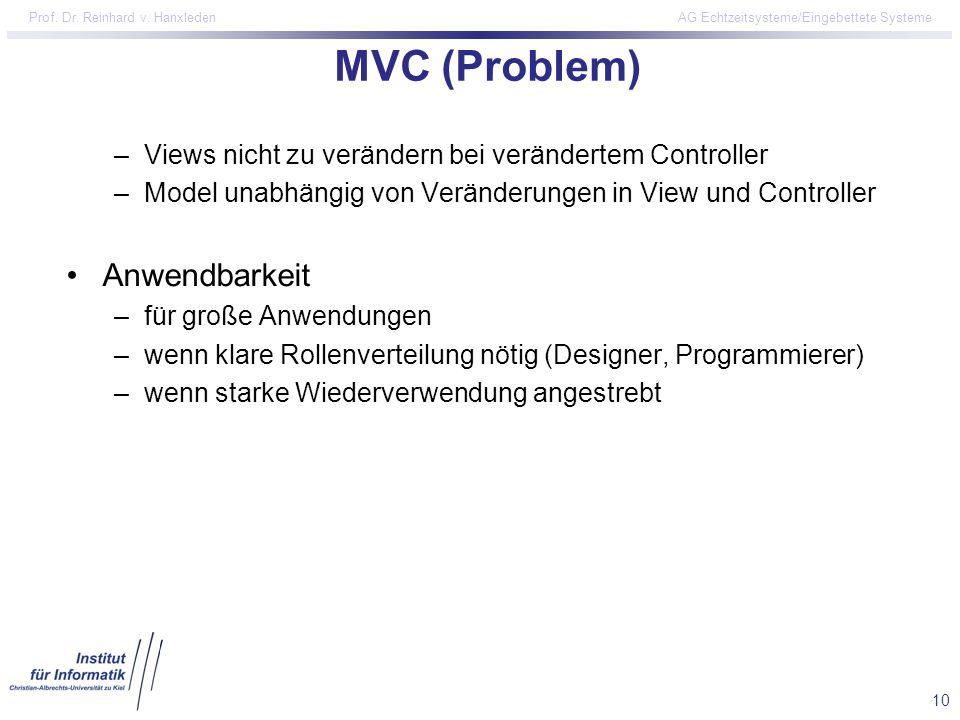 10 Prof. Dr. Reinhard v. Hanxleden AG Echtzeitsysteme/Eingebettete Systeme MVC (Problem) –Views nicht zu verändern bei verändertem Controller –Model u