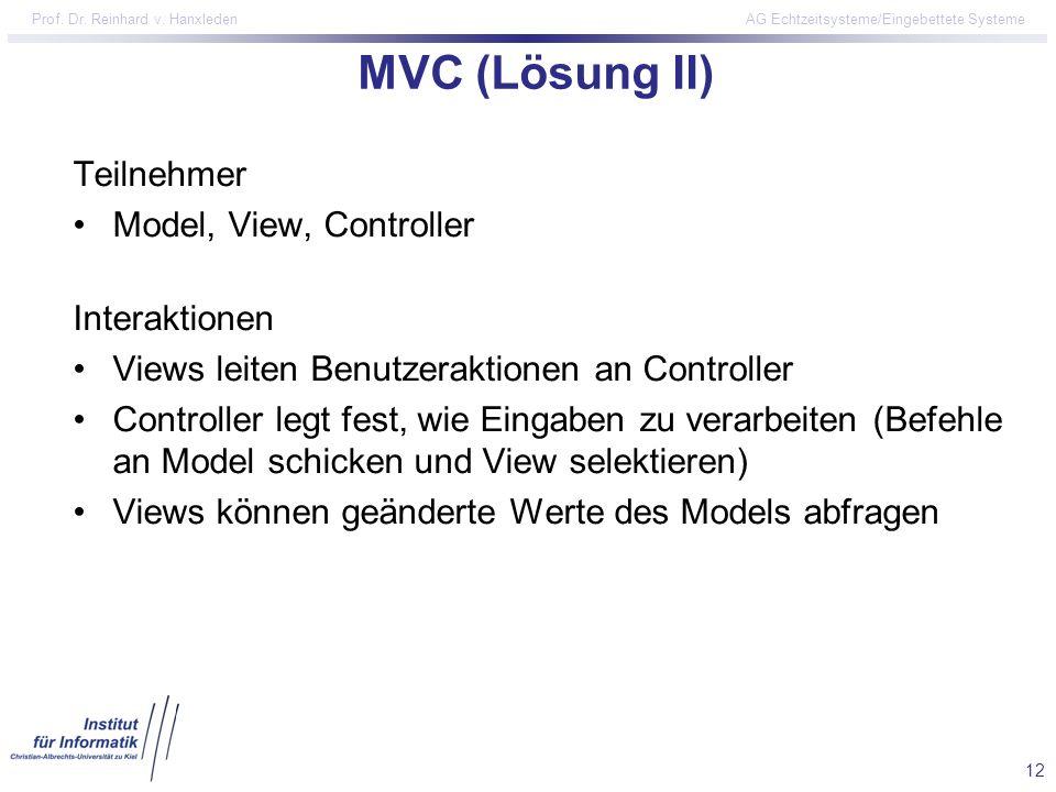 12 Prof. Dr. Reinhard v. Hanxleden AG Echtzeitsysteme/Eingebettete Systeme MVC (Lösung II) Teilnehmer Model, View, Controller Interaktionen Views leit