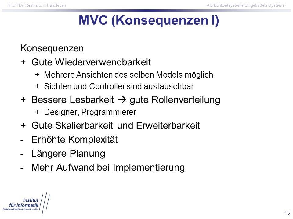 13 Prof. Dr. Reinhard v. Hanxleden AG Echtzeitsysteme/Eingebettete Systeme MVC (Konsequenzen I) Konsequenzen +Gute Wiederverwendbarkeit +Mehrere Ansic