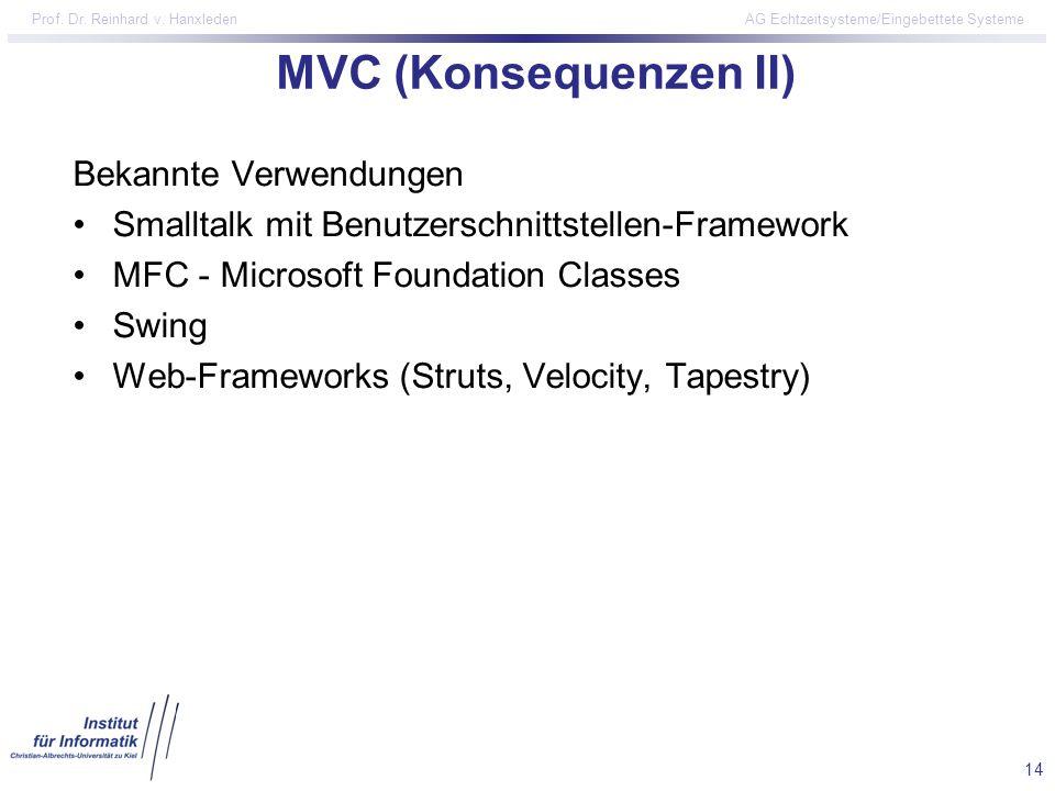 14 Prof. Dr. Reinhard v. Hanxleden AG Echtzeitsysteme/Eingebettete Systeme MVC (Konsequenzen II) Bekannte Verwendungen Smalltalk mit Benutzerschnittst