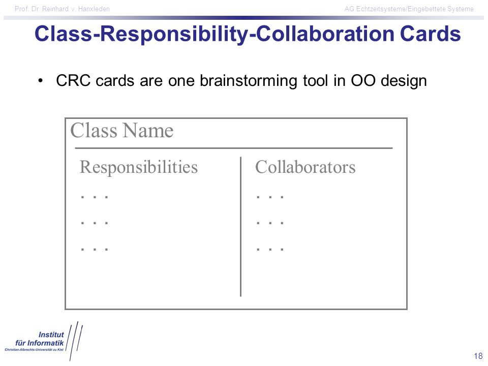 18 Prof. Dr. Reinhard v. Hanxleden AG Echtzeitsysteme/Eingebettete Systeme Class-Responsibility-Collaboration Cards Class Name Responsibilities.......