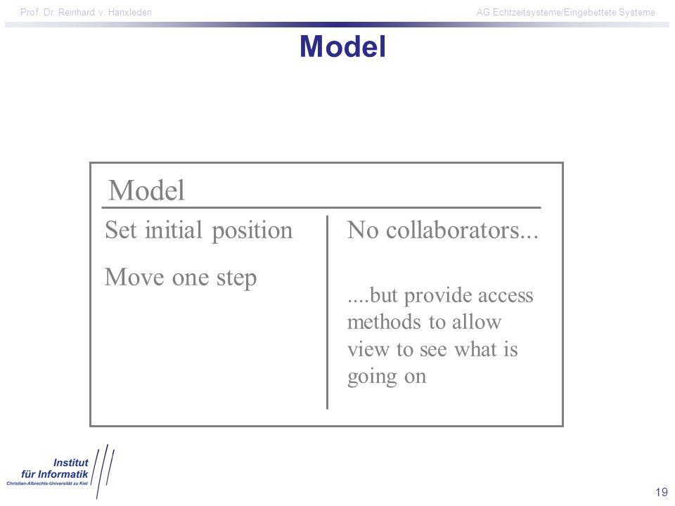 19 Prof. Dr. Reinhard v. Hanxleden AG Echtzeitsysteme/Eingebettete Systeme Model Set initial position Move one step No collaborators.......but provide