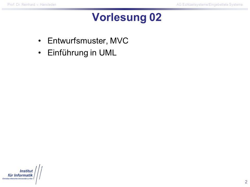 2 Prof. Dr. Reinhard v. Hanxleden AG Echtzeitsysteme/Eingebettete Systeme Vorlesung 02 Entwurfsmuster, MVC Einführung in UML