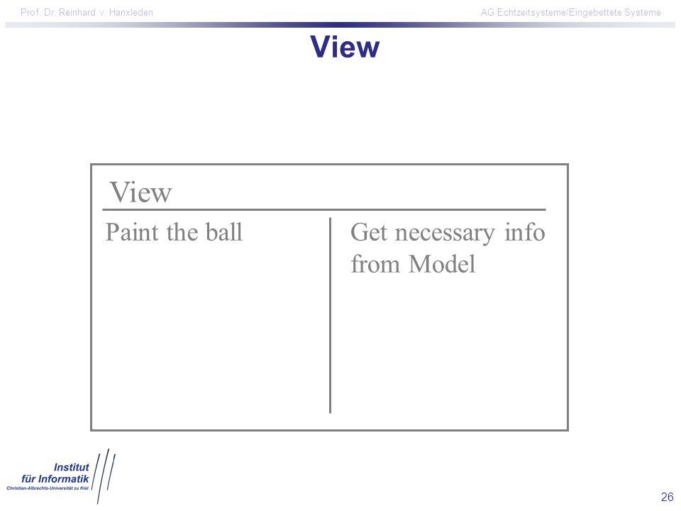 26 Prof. Dr. Reinhard v. Hanxleden AG Echtzeitsysteme/Eingebettete Systeme View Paint the ballGet necessary info from Model