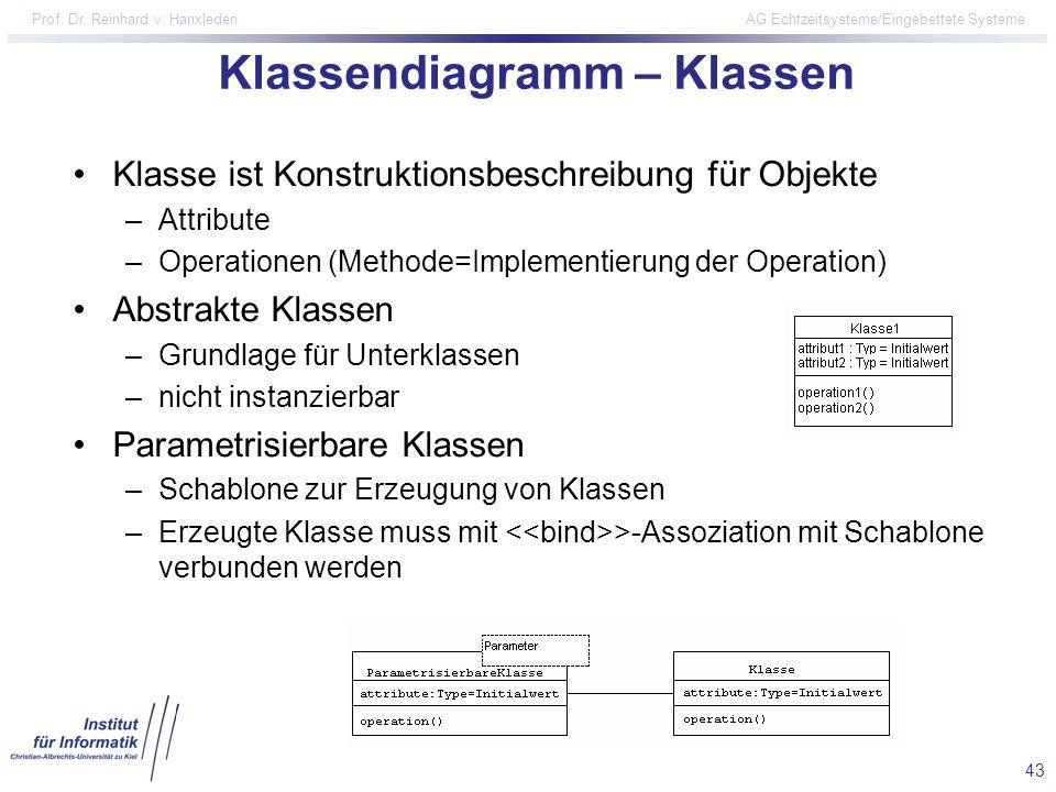 43 Prof. Dr. Reinhard v. Hanxleden AG Echtzeitsysteme/Eingebettete Systeme Klassendiagramm – Klassen Klasse ist Konstruktionsbeschreibung für Objekte