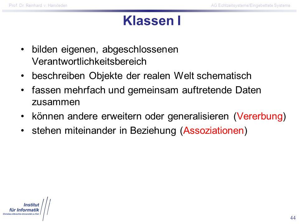 44 Prof. Dr. Reinhard v. Hanxleden AG Echtzeitsysteme/Eingebettete Systeme Klassen I bilden eigenen, abgeschlossenen Verantwortlichkeitsbereich beschr