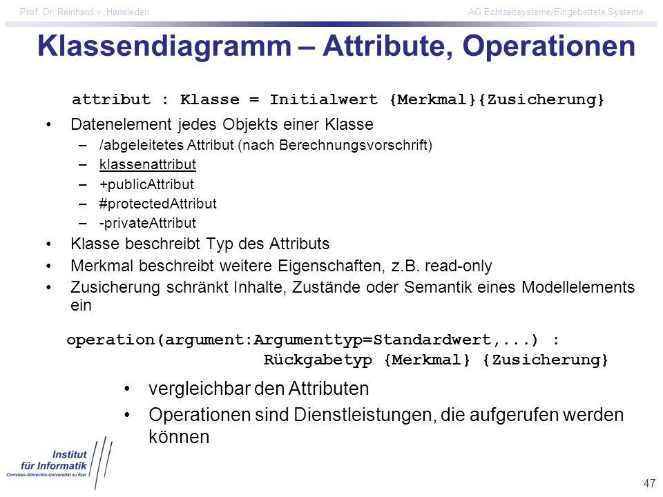47 Prof. Dr. Reinhard v. Hanxleden AG Echtzeitsysteme/Eingebettete Systeme Klassendiagramm – Attribute, Operationen Datenelement jedes Objekts einer K