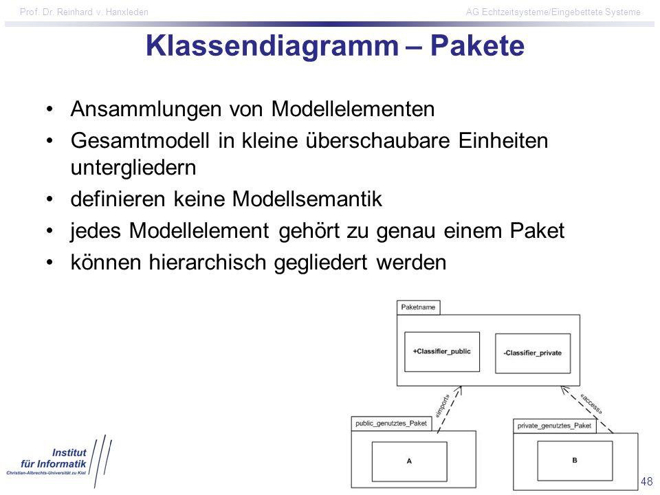 48 Prof. Dr. Reinhard v. Hanxleden AG Echtzeitsysteme/Eingebettete Systeme Klassendiagramm – Pakete Ansammlungen von Modellelementen Gesamtmodell in k