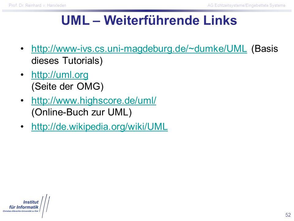 52 Prof. Dr. Reinhard v. Hanxleden AG Echtzeitsysteme/Eingebettete Systeme UML – Weiterführende Links http://www-ivs.cs.uni-magdeburg.de/~dumke/UML (B