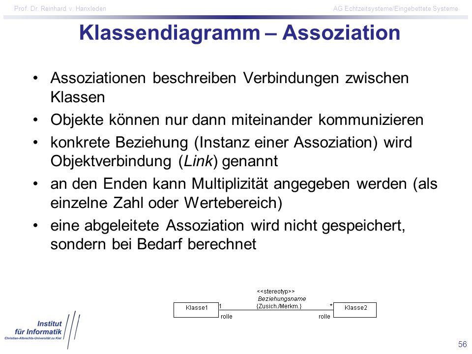 56 Prof. Dr. Reinhard v. Hanxleden AG Echtzeitsysteme/Eingebettete Systeme Klassendiagramm – Assoziation Assoziationen beschreiben Verbindungen zwisch