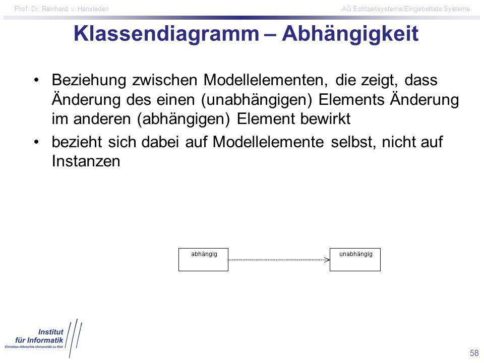 58 Prof. Dr. Reinhard v. Hanxleden AG Echtzeitsysteme/Eingebettete Systeme Klassendiagramm – Abhängigkeit Beziehung zwischen Modellelementen, die zeig