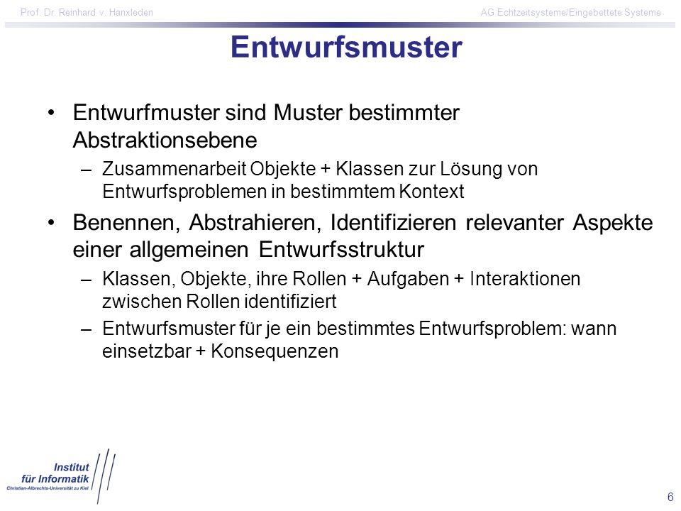 6 Prof. Dr. Reinhard v. Hanxleden AG Echtzeitsysteme/Eingebettete Systeme Entwurfsmuster Entwurfmuster sind Muster bestimmter Abstraktionsebene –Zusam
