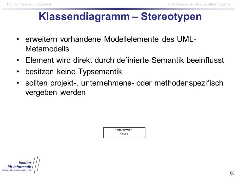 60 Prof. Dr. Reinhard v. Hanxleden AG Echtzeitsysteme/Eingebettete Systeme Klassendiagramm – Stereotypen erweitern vorhandene Modellelemente des UML-