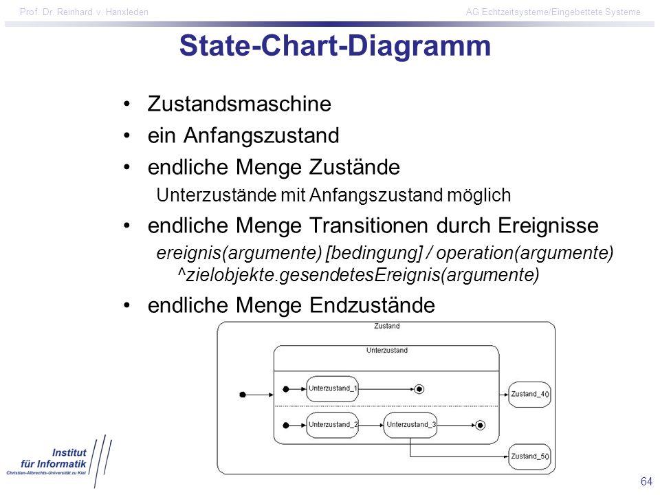 64 Prof. Dr. Reinhard v. Hanxleden AG Echtzeitsysteme/Eingebettete Systeme State-Chart-Diagramm Zustandsmaschine ein Anfangszustand endliche Menge Zus