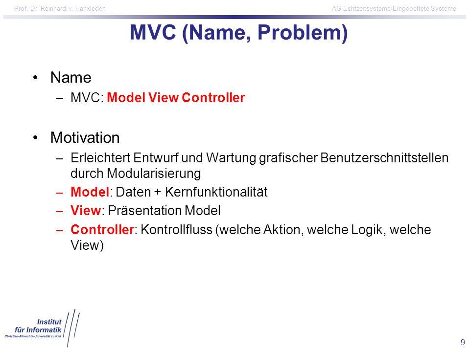 9 Prof. Dr. Reinhard v. Hanxleden AG Echtzeitsysteme/Eingebettete Systeme MVC (Name, Problem) Name –MVC: Model View Controller Motivation –Erleichtert