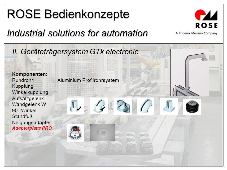 ROSE Bedienkonzepte Industrial solutions for automation II. Geräteträgersystem GTk electronic Komponenten: Rundrohr:Aluminium Profilrohrsystem Kupplun