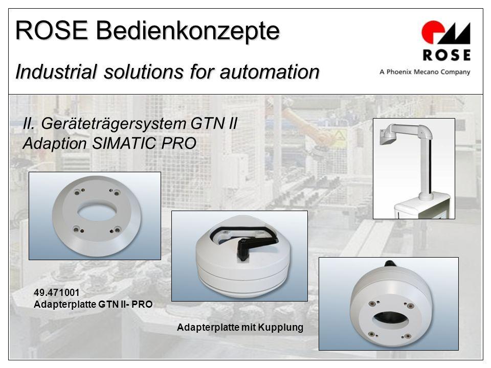 ROSE Bedienkonzepte Industrial solutions for automation II. Geräteträgersystem GTN II Adaption SIMATIC PRO 49.471001 Adapterplatte GTN II- PRO Adapter