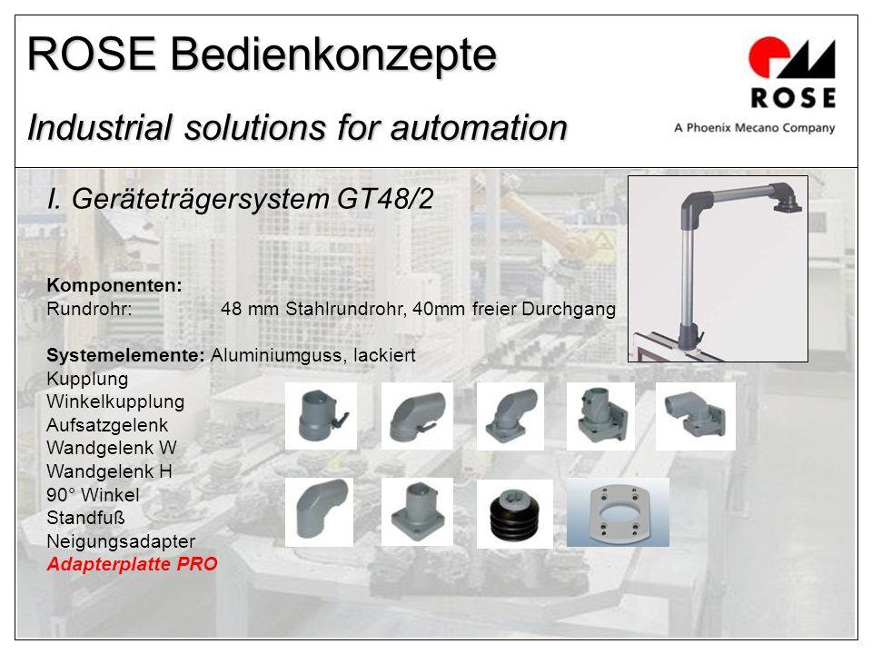 ROSE Bedienkonzepte Industrial solutions for automation I. Geräteträgersystem GT48/2 Komponenten: Rundrohr:48 mm Stahlrundrohr, 40mm freier Durchgang