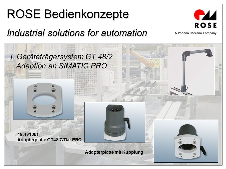 ROSE Bedienkonzepte Industrial solutions for automation I. Geräteträgersystem GT 48/2 Adaption an SIMATIC PRO 49.491001 Adapterplatte GT48/GTke-PRO Ad