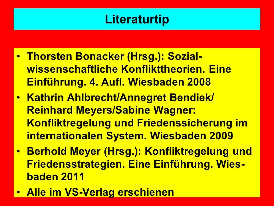 Literaturtip Thorsten Bonacker (Hrsg.): Sozial- wissenschaftliche Konflikttheorien. Eine Einführung. 4. Aufl. Wiesbaden 2008 Kathrin Ahlbrecht/Annegre