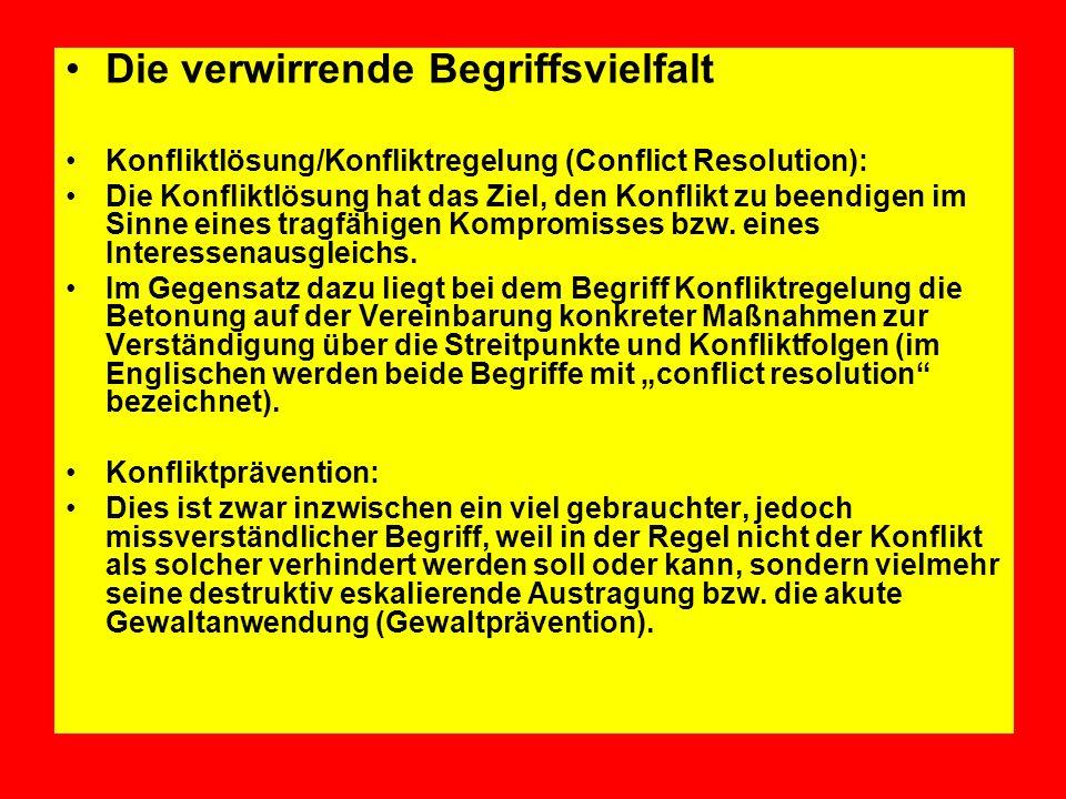 Die verwirrende Begriffsvielfalt Konfliktlösung/Konfliktregelung (Conflict Resolution): Die Konfliktlösung hat das Ziel, den Konflikt zu beendigen im