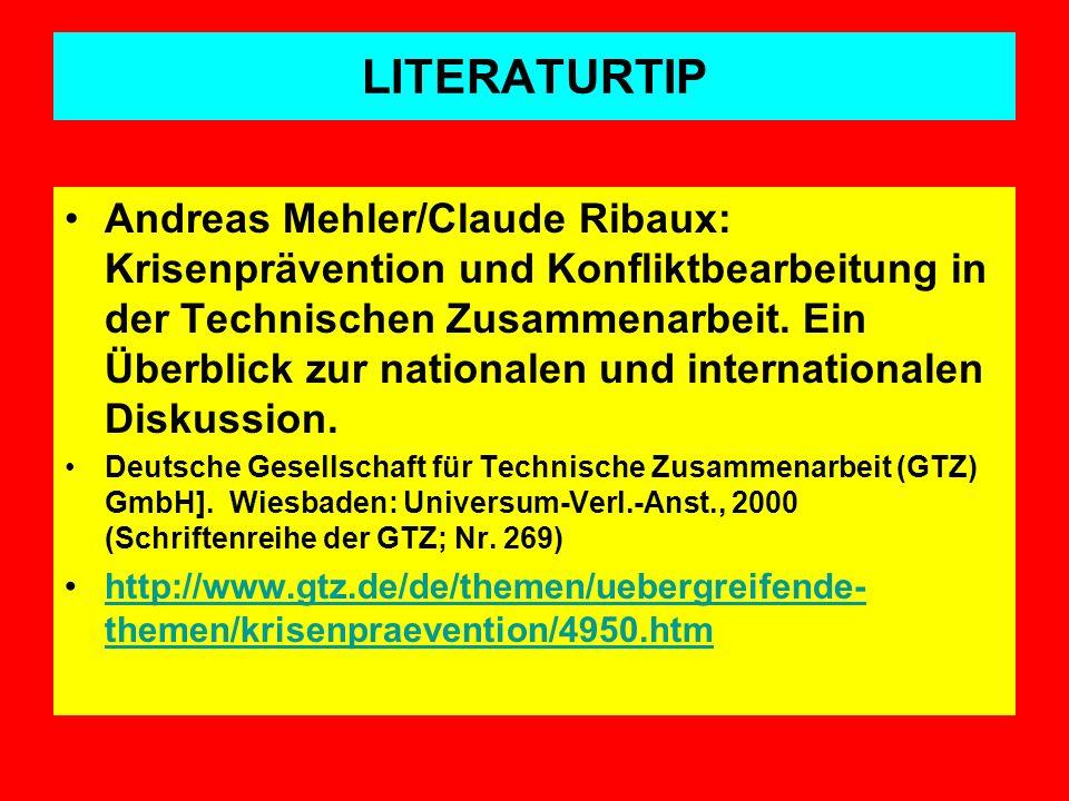 LITERATURTIP Andreas Mehler/Claude Ribaux: Krisenprävention und Konfliktbearbeitung in der Technischen Zusammenarbeit. Ein Überblick zur nationalen un