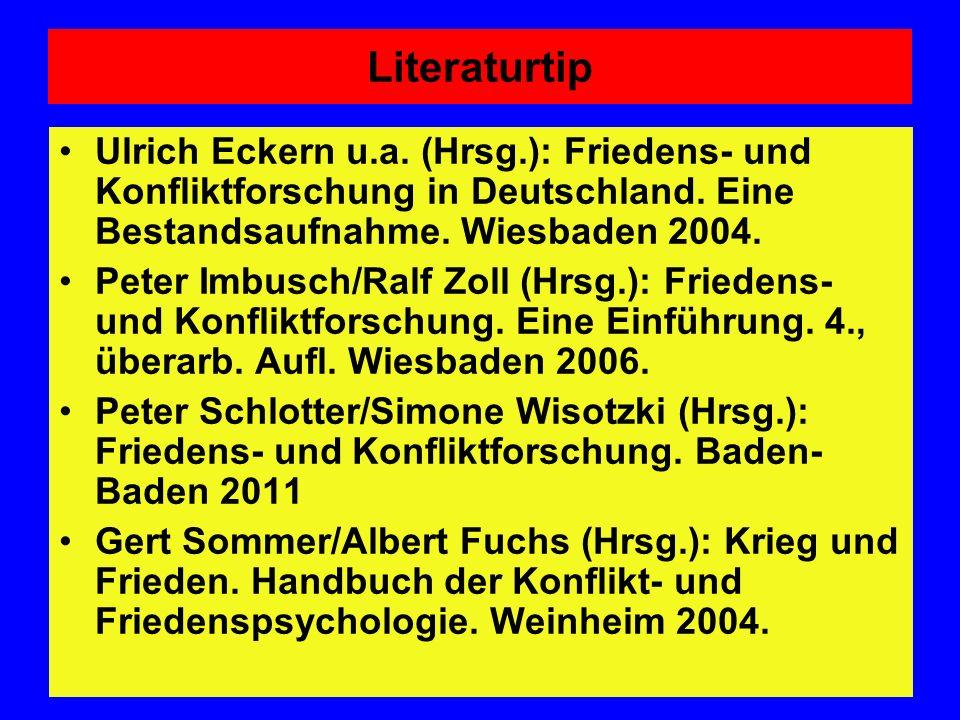 Literaturtip Ulrich Eckern u.a. (Hrsg.): Friedens- und Konfliktforschung in Deutschland. Eine Bestandsaufnahme. Wiesbaden 2004. Peter Imbusch/Ralf Zol