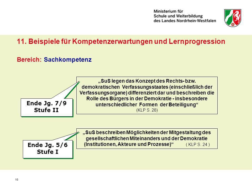 16 11. Beispiele für Kompetenzerwartungen und Lernprogression Bereich: Sachkompetenz SuS legen das Konzept des Rechts- bzw. demokratischen Verfassungs