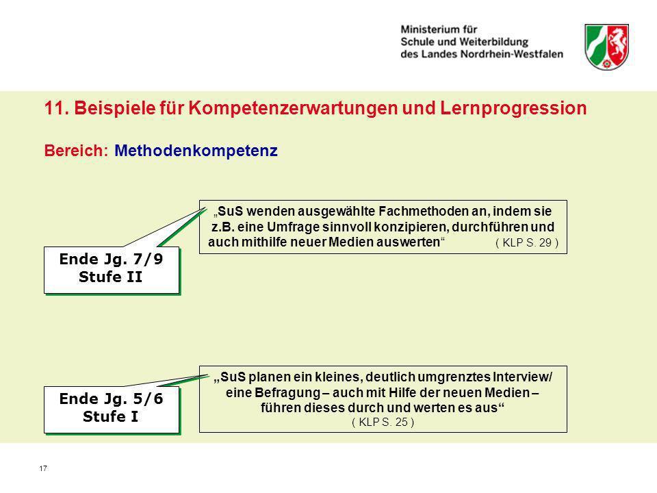 17 11. Beispiele für Kompetenzerwartungen und Lernprogression Bereich: Methodenkompetenz SuS wenden ausgewählte Fachmethoden an, indem sie z.B. eine U