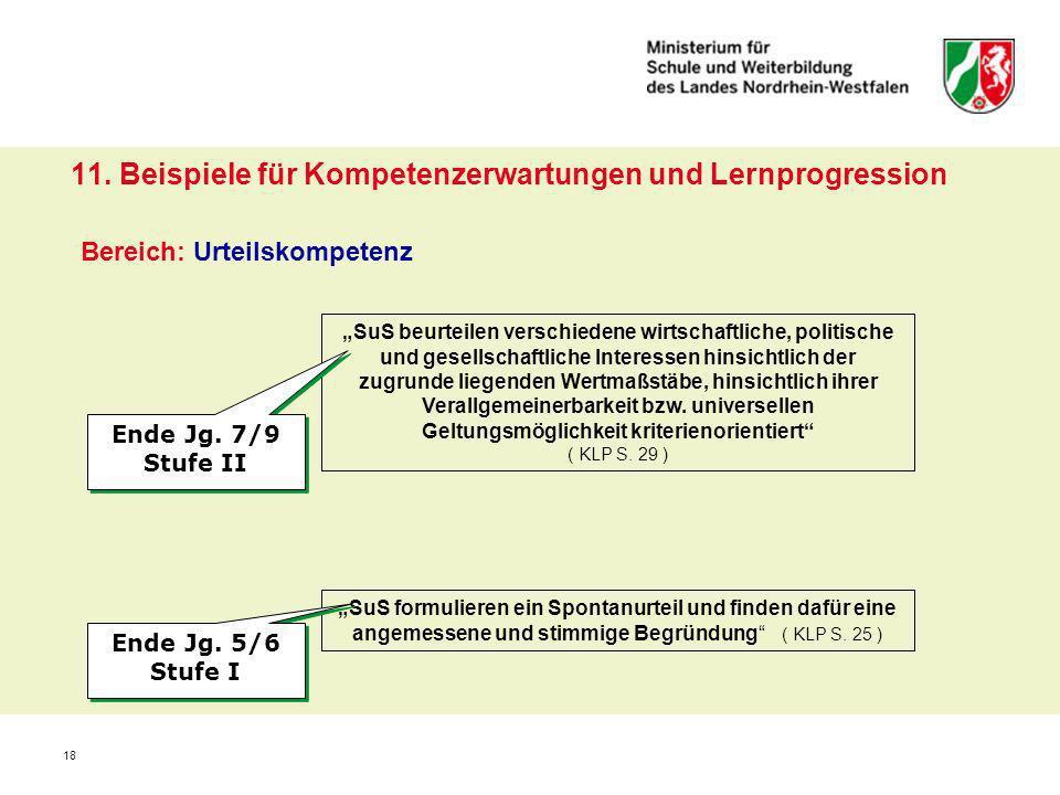 18 11. Beispiele für Kompetenzerwartungen und Lernprogression Bereich: Urteilskompetenz SuS beurteilen verschiedene wirtschaftliche, politische und ge