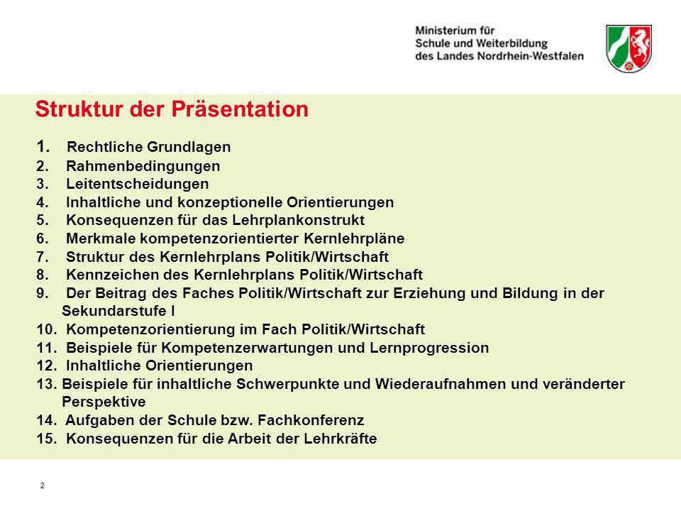 2 Struktur der Präsentation 1. Rechtliche Grundlagen 2. Rahmenbedingungen 3. Leitentscheidungen 4. Inhaltliche und konzeptionelle Orientierungen 5. Ko