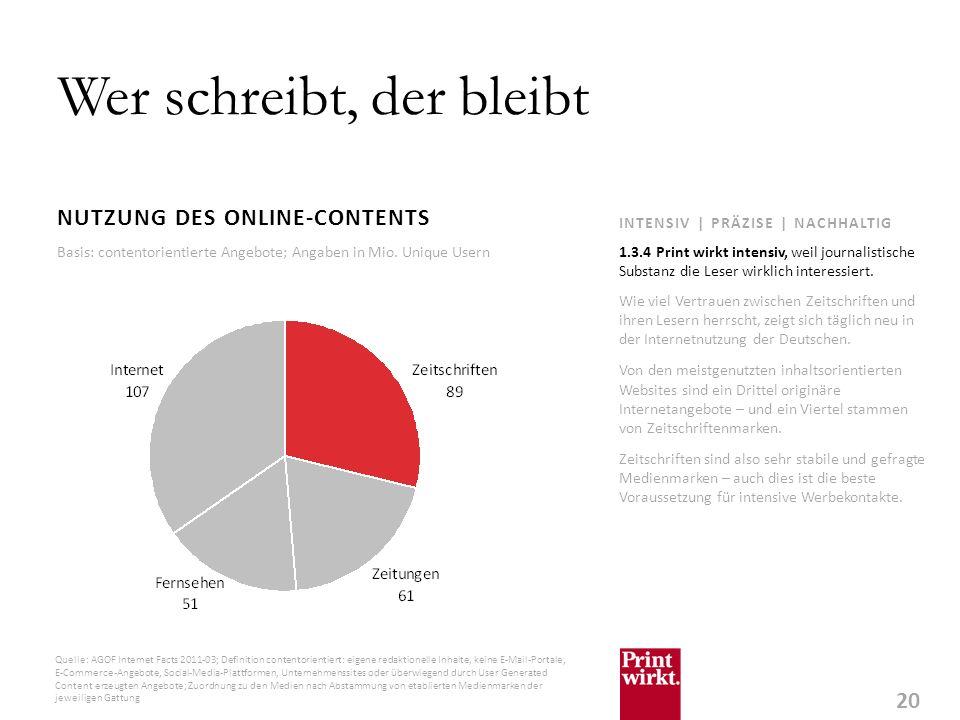 20 INTENSIV | PRÄZISE | NACHHALTIG Wer schreibt, der bleibt NUTZUNG DES ONLINE-CONTENTS Wie viel Vertrauen zwischen Zeitschriften und ihren Lesern herrscht, zeigt sich täglich neu in der Internetnutzung der Deutschen.