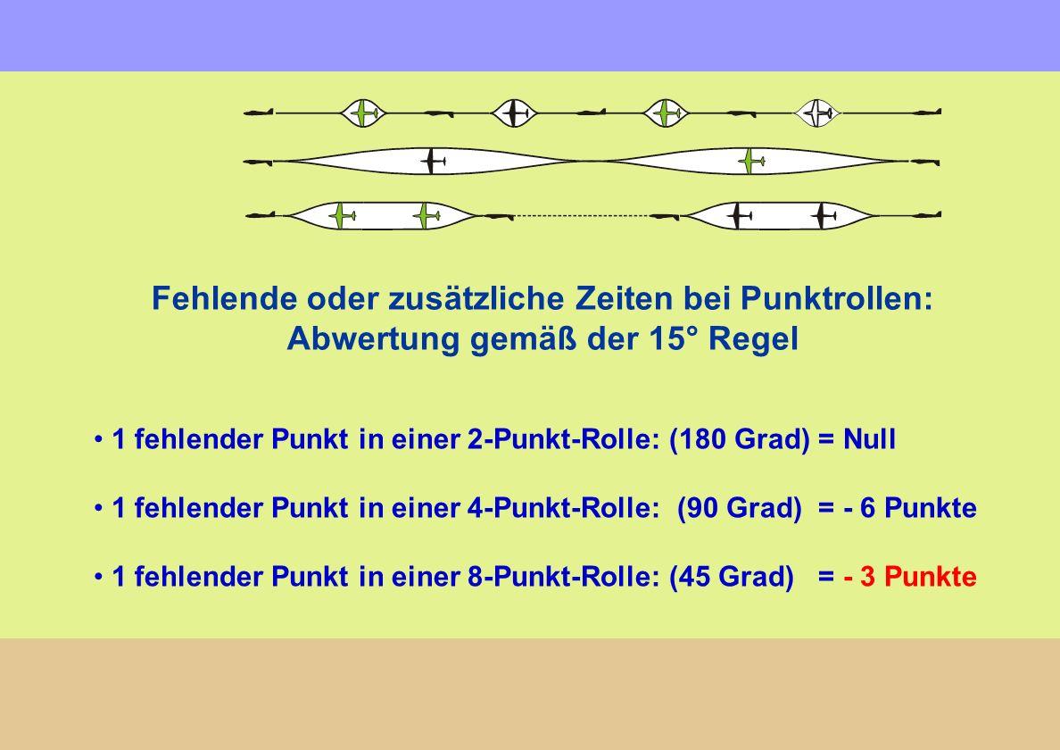Fehlende oder zusätzliche Zeiten bei Punktrollen: Abwertung gemäß der 15° Regel 1 fehlender Punkt in einer 2-Punkt-Rolle: (180 Grad) = Null 1 fehlende