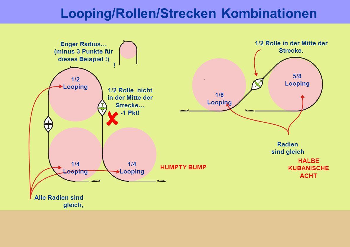 Enger Radius… (minus 3 Punkte für dieses Beispiel !) ! 1/8 Looping 5/8 Looping 1/2 Rolle in der Mitte der Strecke. Radien sind gleich HALBE KUBANISCHE