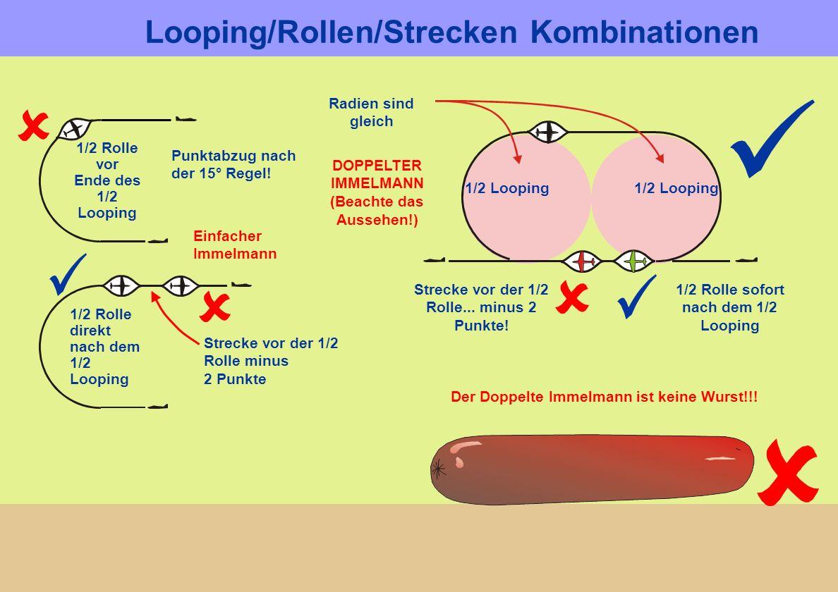 Der Doppelte Immelmann ist keine Wurst!!! Radien sind gleich 1/2 Looping DOPPELTER IMMELMANN (Beachte das Aussehen!) 1/2 Looping 1/2 Rolle sofort nach