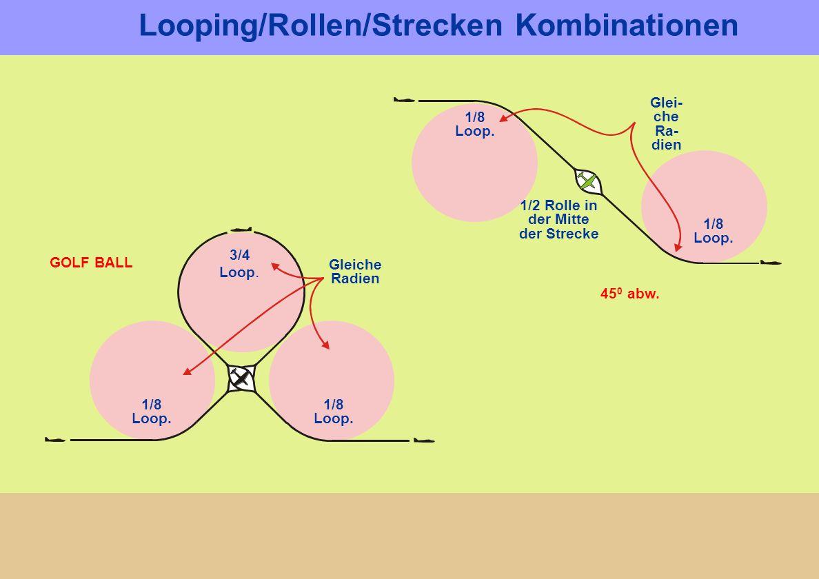 1/2 Rolle in der Mitte der Strecke 45 0 abw. 1/8 Loop. Glei- che Ra- dien 1/8 Loop. Gleiche Radien GOLF BALL 1/8 Loop. 1/8 Loop. 3/4 Loop. Looping/Rol