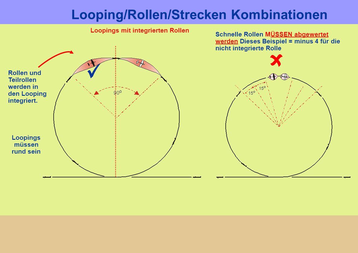 Loopings mit integrierten Rollen Looping/Rollen/Strecken Kombinationen Loopings müssen rund sein Rollen und Teilrollen werden in den Looping integrier