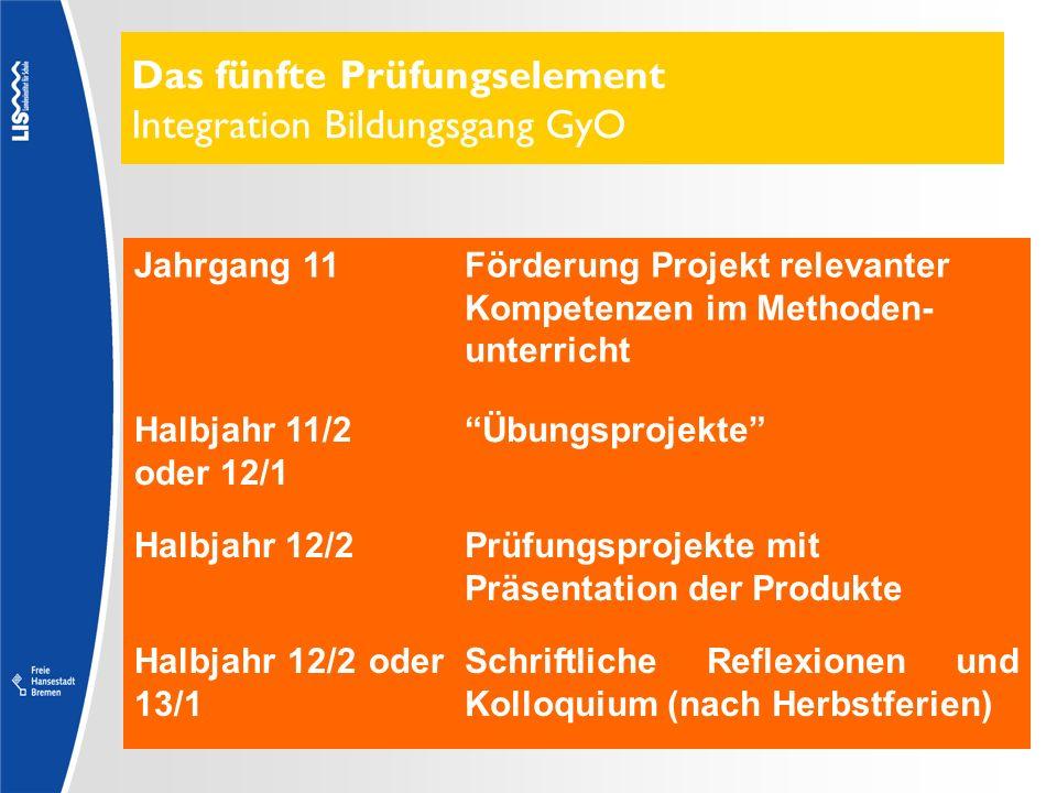 Das fünfte Prüfungselement Integration Bildungsgang GyO Jahrgang 11Förderung Projekt relevanter Kompetenzen im Methoden- unterricht Halbjahr 11/2 oder