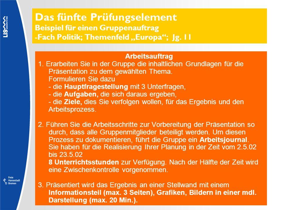 Das fünfte Prüfungselement Beispiel für einen Gruppenauftrag -Fach Politik; Themenfeld Europa; Jg. 11 Arbeitsauftrag 1. Erarbeiten Sie in der Gruppe d
