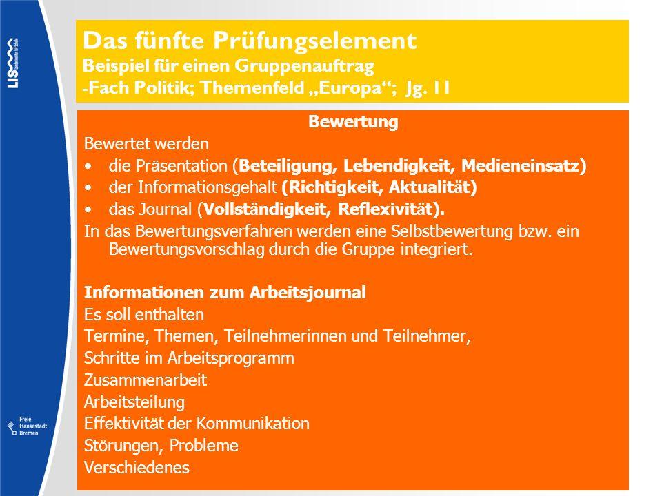 Das fünfte Prüfungselement Beispiel für einen Gruppenauftrag -Fach Politik; Themenfeld Europa; Jg. 11 Bewertung Bewertet werden die Pr ä sentation (Be
