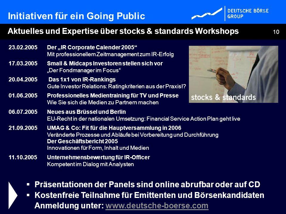 10 Aktuelles und Expertise über stocks & standards Workshops Präsentationen der Panels sind online abrufbar oder auf CD Kostenfreie Teilnahme für Emit