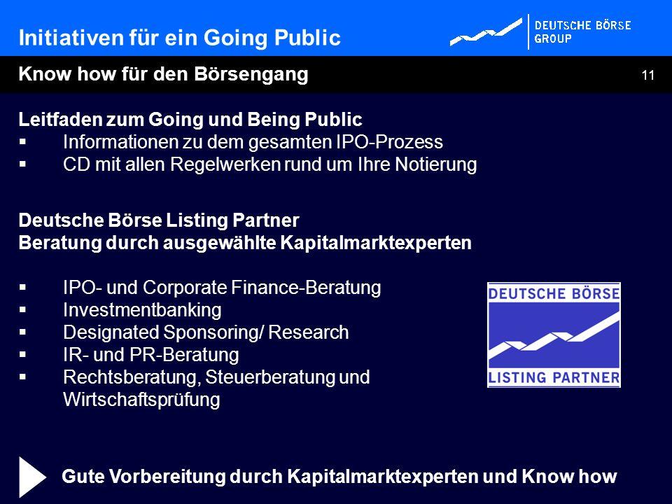 11 Leitfaden zum Going und Being Public Informationen zu dem gesamten IPO-Prozess CD mit allen Regelwerken rund um Ihre Notierung Deutsche Börse Listi